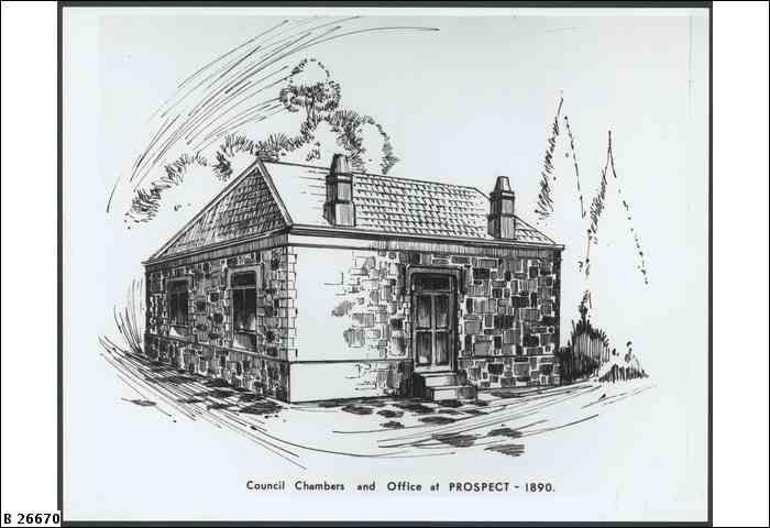 SLSA: B 26670 TITLECouncil Chambers, Prospect     DESCRIPTIONCouncil Chambers and Office at Prospect     DATE1890