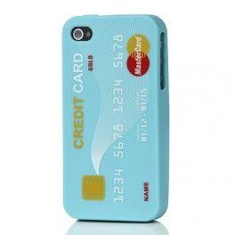 iPhone 4 sininen luottokortti silikonisuojus.