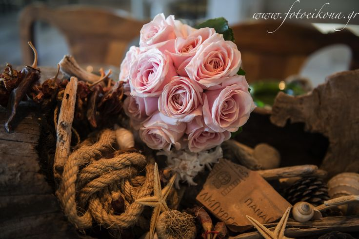 Pink rose bouquet for Eszter by Gourioti Flowers for Lefkas Weddings