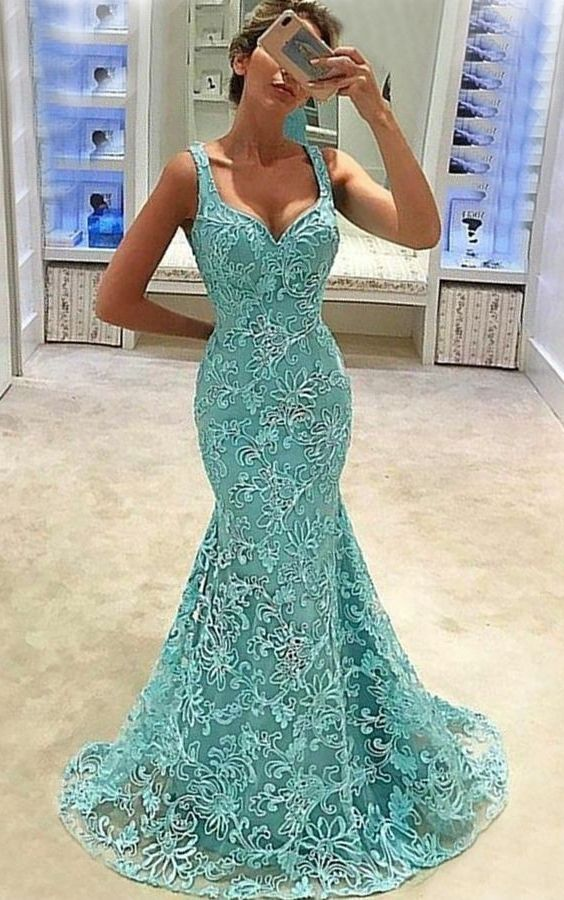 49ef52d41eff elegant light blue mermaid prom dress with sweep train, bodycon mermaid lace  party dress withe