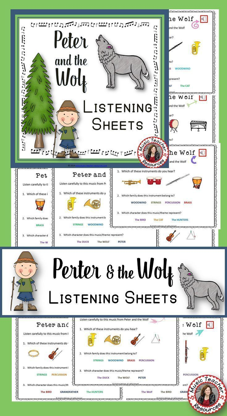 Music lessons | Peter and the Wolf Listening Sheets with audio clips This is a ZIP file that contains: 1. an 8 page PPT and PDF file 2. 7 short mp3 audio files of the characters themes. These listening sheets are best suited to Grade 2-3 and are to be used in conjunction with listening to the themes of the characters in Peter and the Wolf. #musiceducation #musiced #elmused