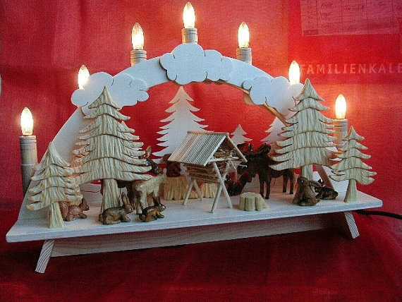 HANDMADE GERMAN Christmas Decoration Candle Arch Wood Schwibbogen  Centerpiece Moose Rabbits Squirrels | Christmas ideas | German christmas  decorations, ... - HANDMADE GERMAN Christmas Decoration Candle Arch Wood Schwibbogen