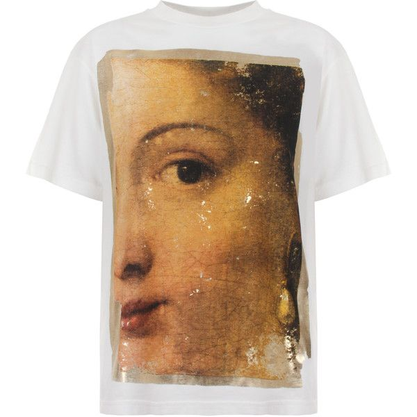Golden Goose Deluxe Brand Golden Painting T-Shirt ($160) ❤ liked on Polyvore featuring tops, t-shirts, crew neck t shirt, logo t shirts, brown t shirt, print t shirts and vintage tees
