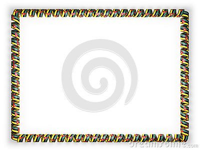 Frame and border of ribbon with the Mozambique flag, edging from the golden rope. 3d illustration.