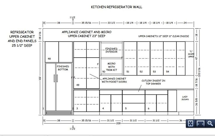 Kitchen Refrigerator wall - UPDATED with FLat panel doors