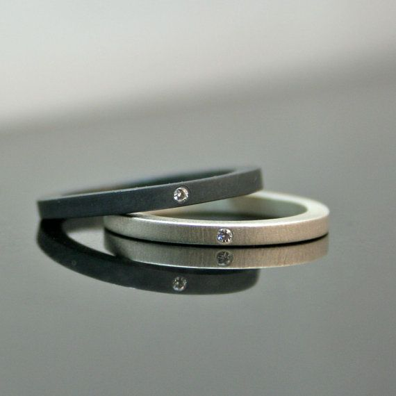 Diamond Rings - Matte and Blackened Sterling Silver  - Engagement Set - Wedding Bands. $300.00, via Etsy.