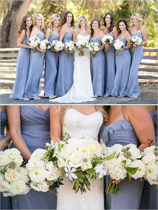 floor length periwinkle bridesmaid  #bridesmaiddresses #purplewedding