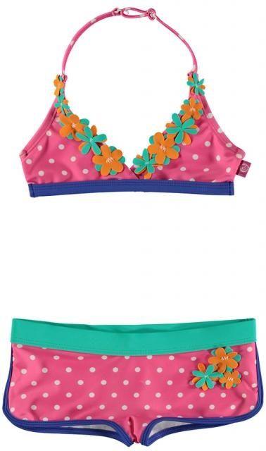 Bomba for Girls - Bikini Hawaii Flower / Pink - Roze bikini van het kinderkleding merk Bomba for Girls.  Hipster bikini Bredere tailleband. All-over design van witte stippen. Afgewerkt met bloemen. | www.onlinekinderkledingkopen.nl/merken/bomba-for-girls