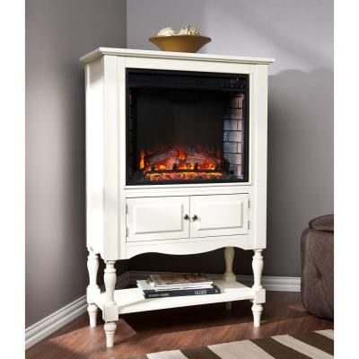Southern Enterprises Horatio 3225 In Convertible Tower Electric Fireplace Antique White HD6494