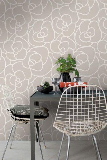 Empapelado - Forma flores grises - Papel de parede