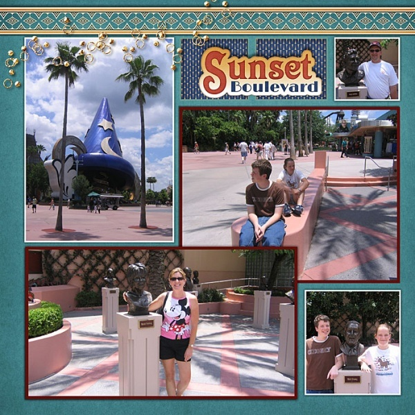 #Disney #Scrapbook Page Layout of Hollywood Sunset Boulevard by Sharon using Vintage Disney Digital Kit by Capturing Magical Memories