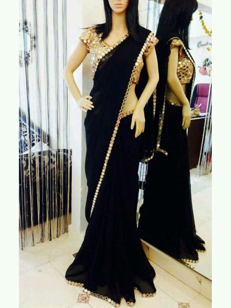 Dazzling beautiful black saree  Saree designs  Wedding party outfits