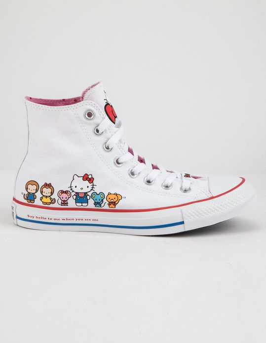 40b5791af4 CONVERSE x Hello Kitty Chuck Taylor All Star White   Prism Pink High Top  Womens Shoes