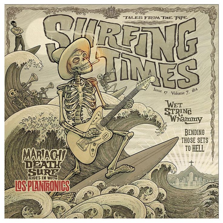 Surfing Times - Los Plantronics - Album cover artwork by Johnny Stingray