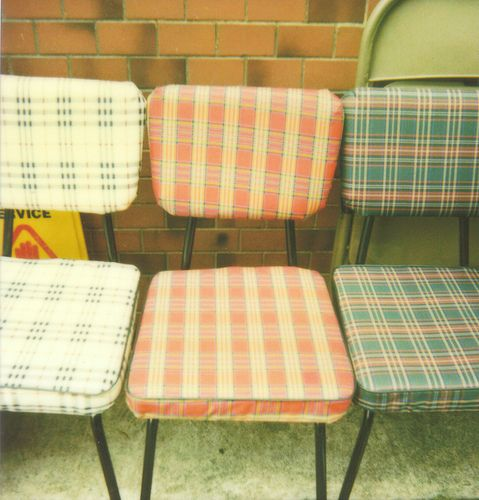 plaid . vinyl chairs .