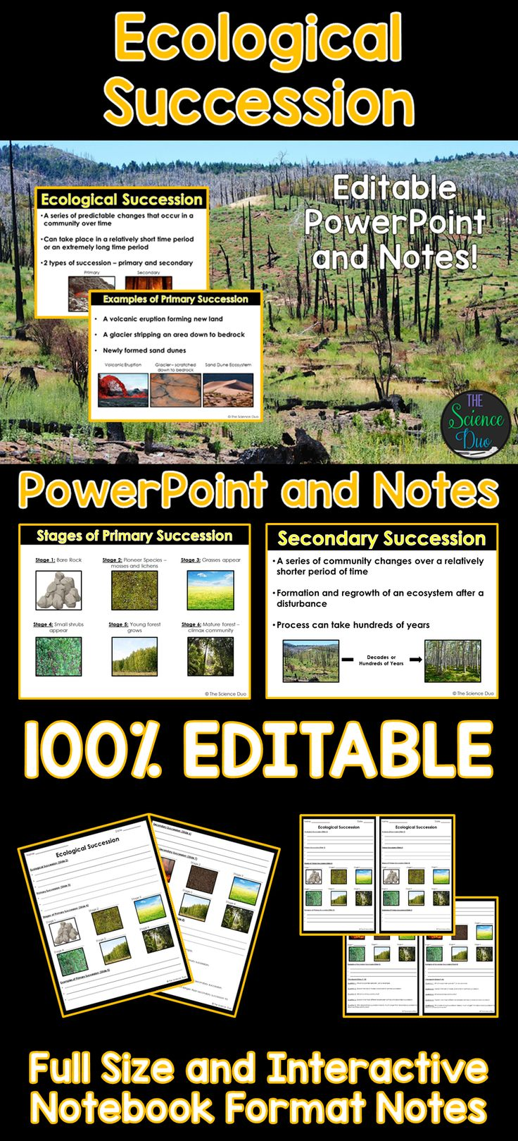 Introduce Ecological Succession (Primary and Secondary Succession) to your students with this PowerPoint presentation. This resource includes the stages of primary and secondary succession with examples.