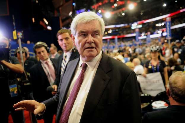 Newt Gingrich, former U.S. Speaker of the House, attends the Republican National Convention (RNC) in Tampa, Florida, U.S., on Tuesday, Aug. 28, 2012.
