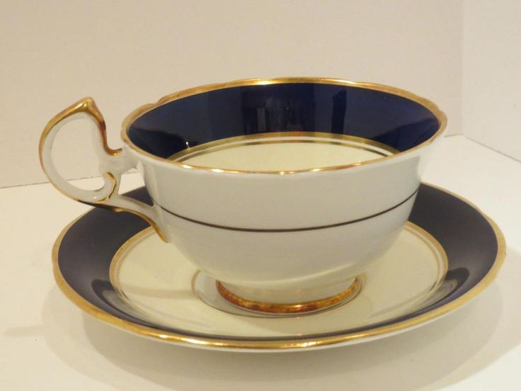 Vintage Aynsley Cobalt Blue and Gold Tea Cup and Saucer Bone China England | eBay