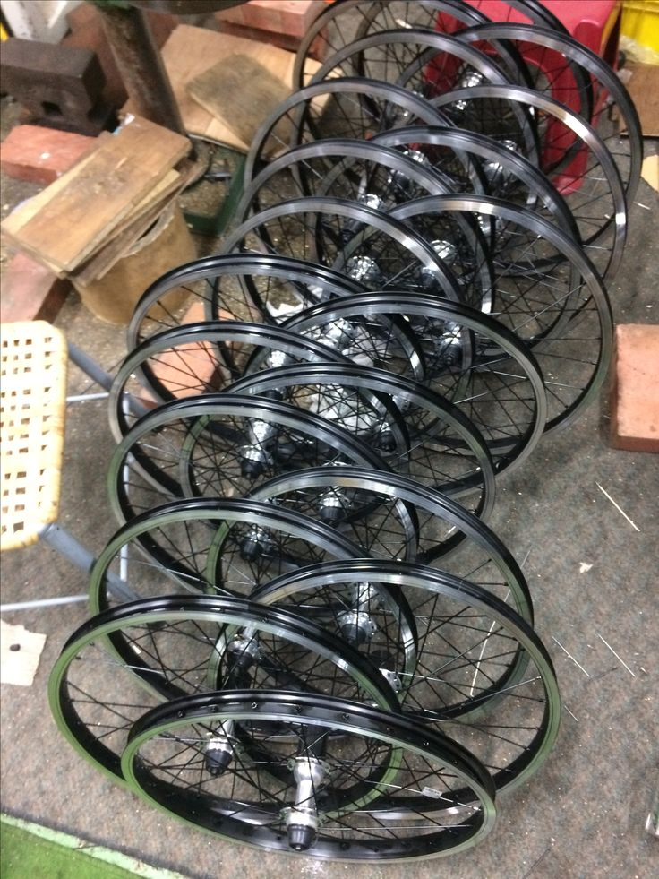 """Coworkers finished 451 (20"""") wheel sets. They will deliver to the completed bike factory. #foldingbike #bmx #wheelbuilding"""