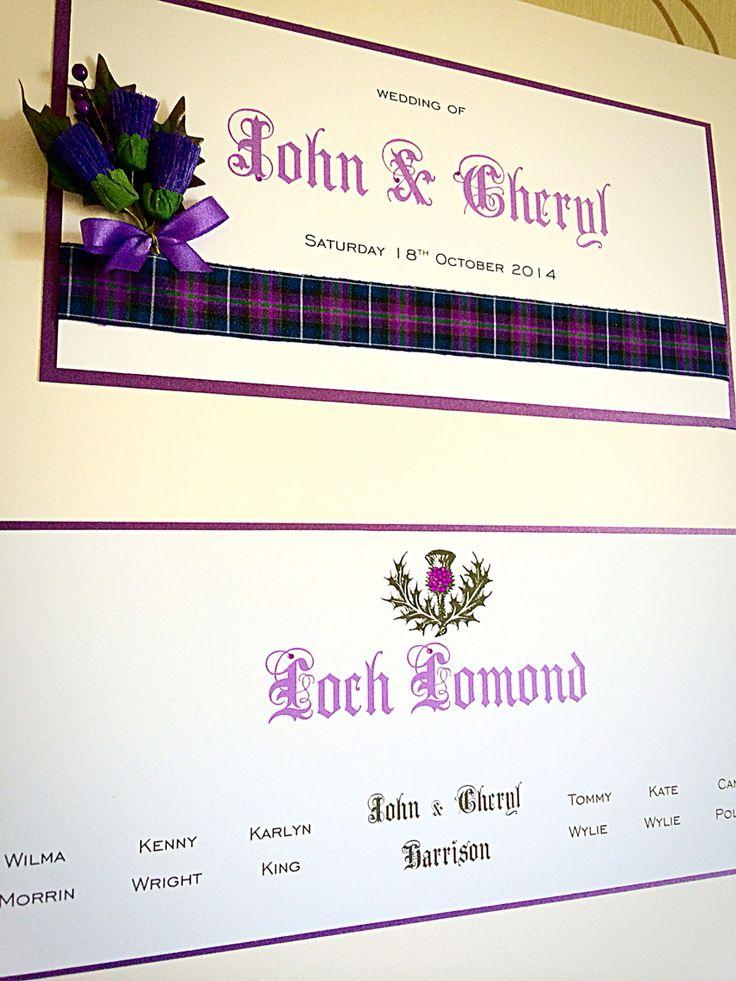 Spirit of Scotland tartan. Scottish themed table plan by Made Marvellous