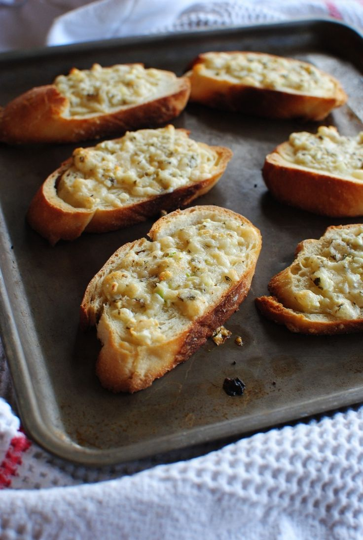 Quick Garlicky Parmesan Crostini | Bev Cooks