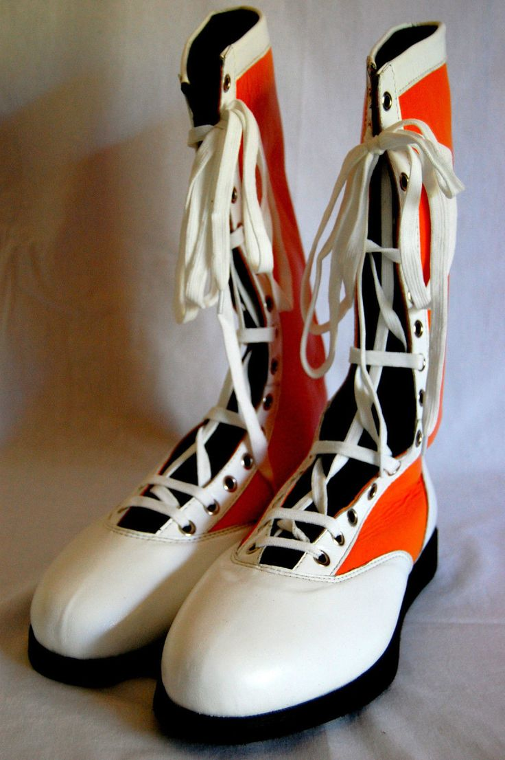 Orange w/ White Tip Pro Wrestling Boots Size 12 Adult NEW ...