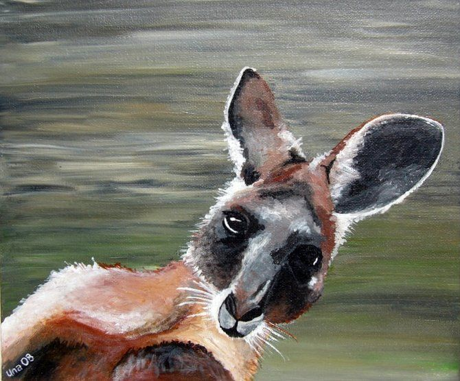 "Cheeky kangaroo  12""x10"" canvas board wooden handmade easel Acrylic $100.00+p&h"