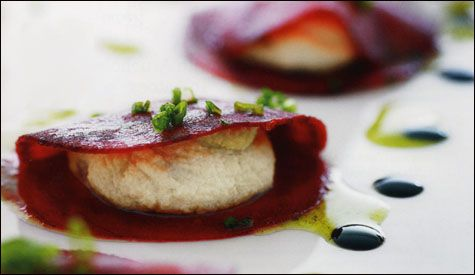 Beet Ravioli with Balsamic Pickled Figs and Green Garlic Oil - Raw (from The Conscious Cook by Tal Ronnen)