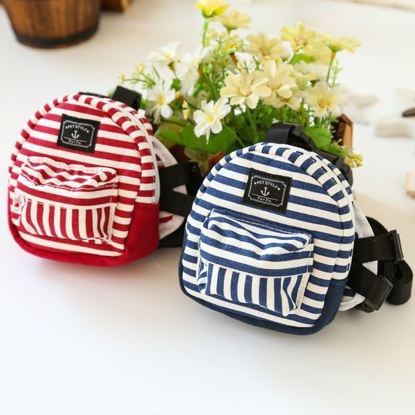 Pet Dog Puppy Carrier Bag Striped Backpack Harness With Leash For