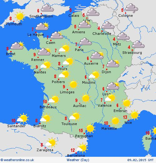 France weather forecast map