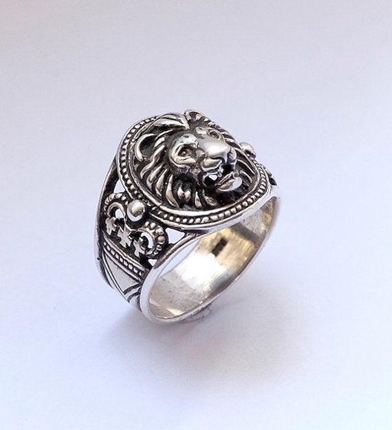 Lion head sterling silver ring by yurikhromchenko on Etsy
