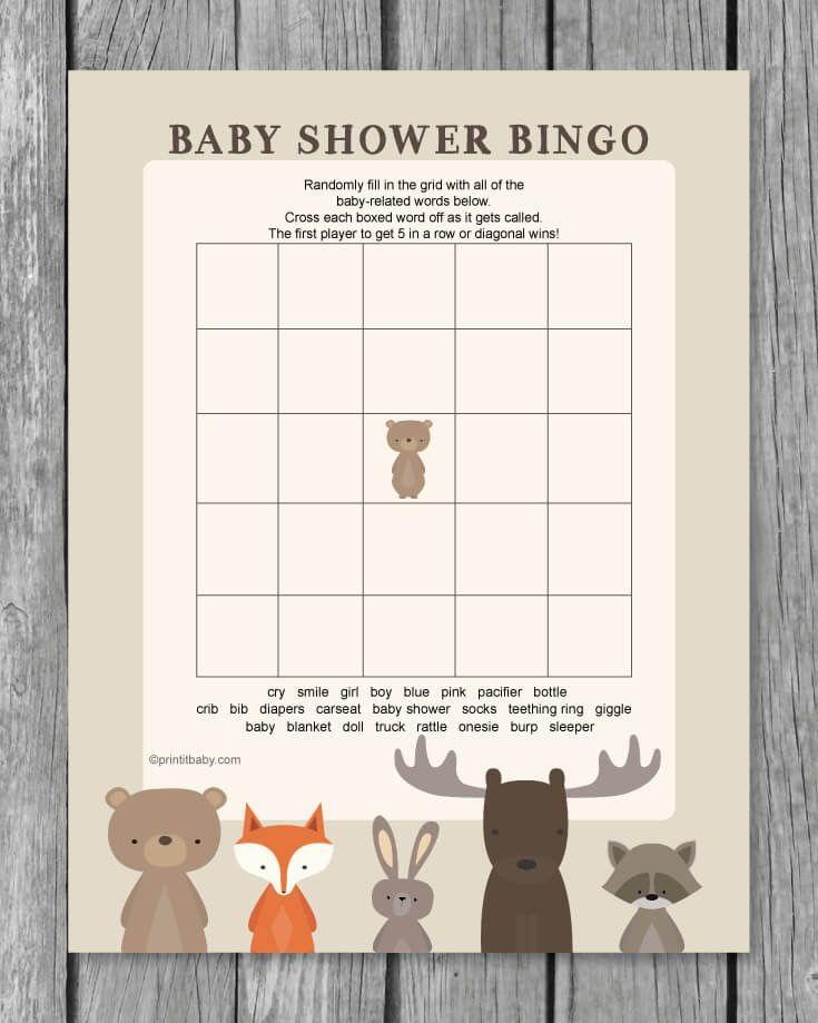 Printable Baby Shower Bingo Game - Woodland Animal Theme - Print It Baby