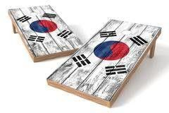 South Korea Flag Single Cornhole Board-Vintage