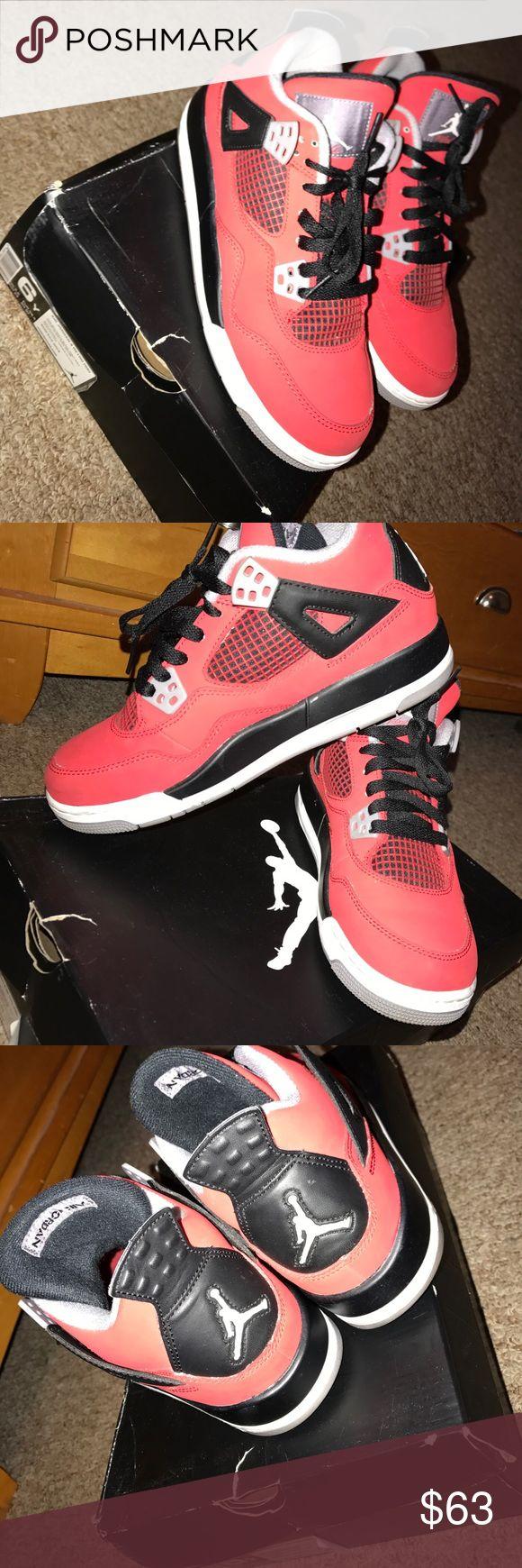 Fire Red Air Jordan Retro 4s Jordan Retro 4s, Size 6 in kids/men, Fire Red/Black/White Jordan Shoes Sneakers