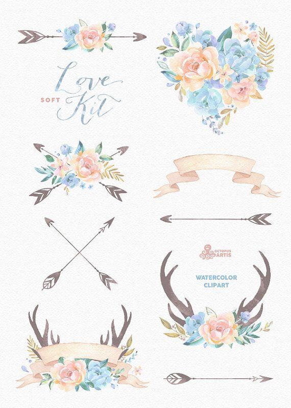 Love Kit Soft. Watercolor Clipart peonies arrows от OctopusArtis