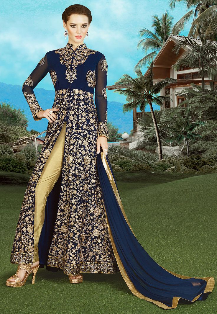 Semi-Stitched Faux Georgette Abaya Style Kameez with Poly Shantoon Lining in Navy Blue Prettified with Resham, Zari, Stone and Patch Border Work Available with a Beige Art Silk Straight Pant and a Navy Blue Faux Chiffon Dupatta The Kameez and Bottom Lengths are 50 and 42 inches respectively Do note: The Length may vary upto 2 inches. Accessories shown in the image are for presentation purposes only.(Slight variation in actual color vs. image is possible)