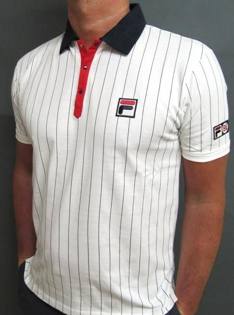 Fila Settanta Mk1 Polo Shirt - Borg White/Red/Navy Stripe BB1,Fila Vintage mk1