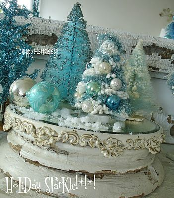 Chippy,and sparkly. Love it.Bottle Brush Trees, Sparkle Blue, Blue Christmas, Brushes Trees, Bottle Brushes, Christmas Bottle, Christmas Decor, Aqua Colors, Chippy Shabby
