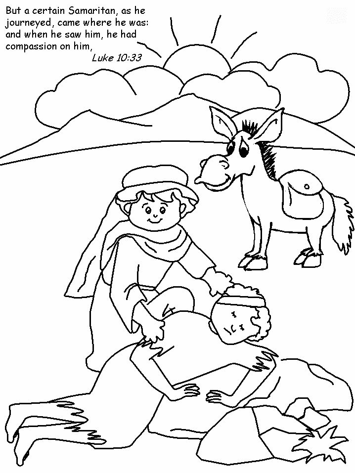 Jesus tells about a good samaritan teaching ccd for Coloring pages for sunday school preschool