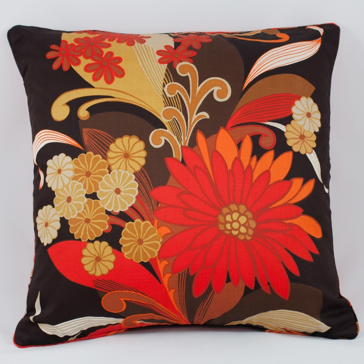 Marigold cushion made from a 1970s vintage furnishing fabric. One of my favourites.