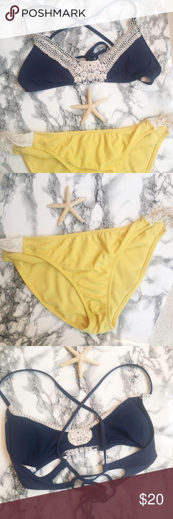 Crochet Detail Bikini M/XL Worn once. Can be split up by request. Yellow XL bottom Jessica Simpson. M Strappy Top Lucky Brand. Offers welcome 💕  Instagram: @shmemilyy17 Snapchat 👻: shmemilyy17 Facebook: www.facebook.com/shmemilyy17 Email: shmemboutique@gmail.com Lucky Brand Swim Bikinis
