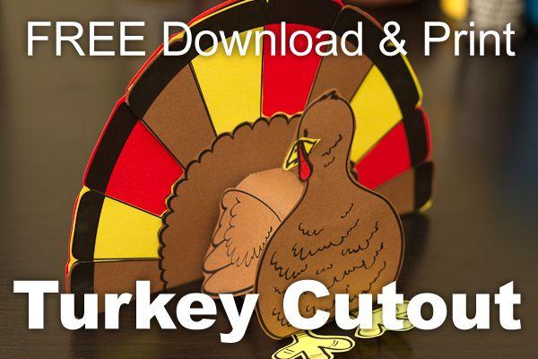 3D Turkey Cutout Downloadable Art Project     hsclassroom.net