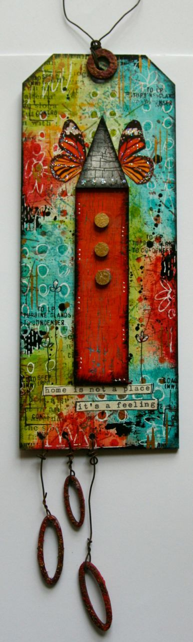 Weathered Wood Crackle Medium, Fluid Acrylics by DecoArt   Media Board and house, mini stitches stencil by Tando Creative   Stamps from S...