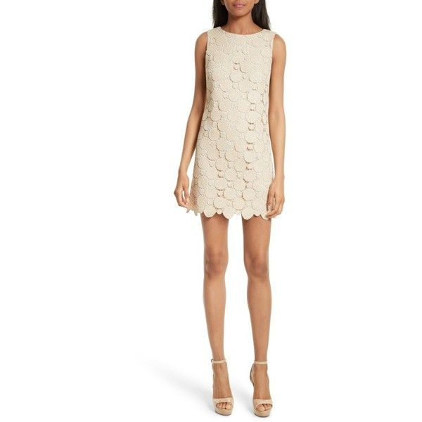 Women's Alice + Olivia Clyde Dot Lace Shift Dress ($375) ❤ liked on Polyvore featuring dresses, gold, embroidered lace dress, white shift dress, short lace dress, embroidered dress and short-sleeve shift dresses