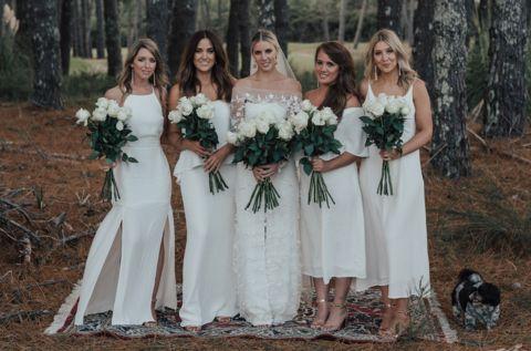 Celine Rita Bridesmaids dresses – Céline Rita. White Bridesmaids. NZ wedding