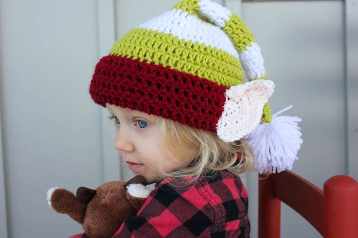 Free crochet elf hat pattern with ears! Make one for each member of the family. Perfect Christmas photo prop idea. Free pattern sizes include 0-3 months (newboarn), 3-6 months (baby), 6-12 months, toddler/preschooler, child and adult. Click to see full pattern.   MakeAndDoCrew.com