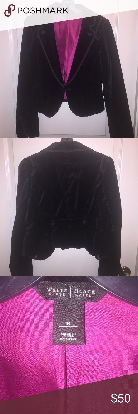 White House Black Market black velvet jacket Beautiful black velvet short jacket with beautiful hot pink satin lining.....worn 2 times...in great condition! White House Black Market Jackets & Coats Blazers