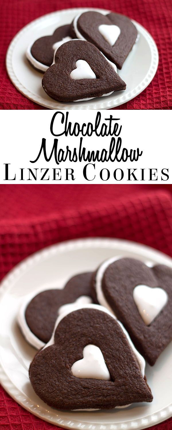 This recipe for Chocolate Marshmallow Linzer Cookies is like a cup of hot chocolate baked into a cookie! via @Erren's Kitchen