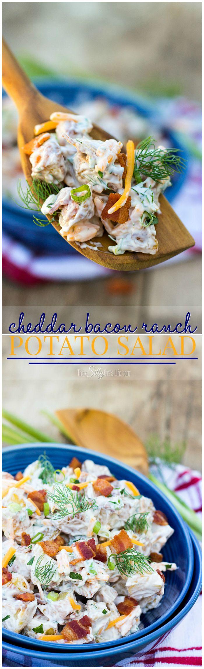 Cheddar Bacon Ranch Potato Salad, the name says it all, roasted potatoes combined in a creamy dressing with fresh dill and scallions! -- ThisSillyGirlsLife.com #sponsored  #boldbacon @walmart @wrightbrand