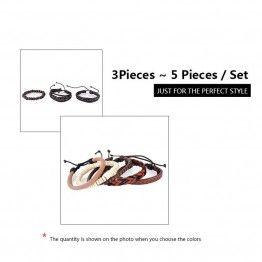 FUNIQUE Men's Multi-layer Leather Bead Bracelet